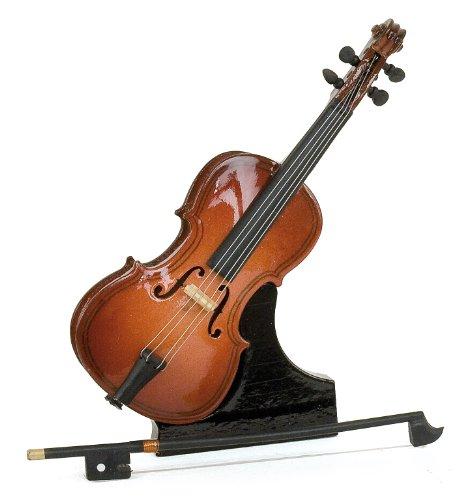 Miniatuur viool met strik - gelakt hout - decoratie item - muziek cadeau - geleverd met zijn doos en standaard - Hoogte 12 cm