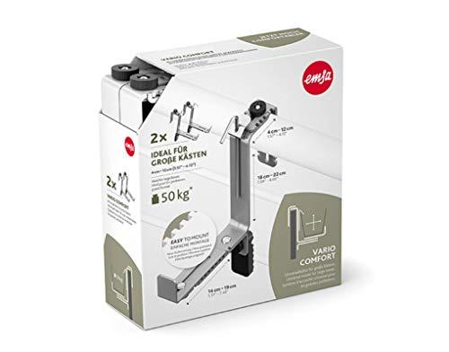 Emsa 516707 Vario Comfort Blumenkastenhalter, für Geländerbreiten von 4 - 12 cm, besonders geeignet für große Kästen, granit