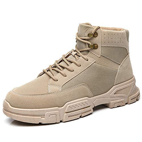 Sneakers High Top Hombre Aire Libre Senderismo Zapatos Cordones Botines Ligeras Transpirables Suela para Trekking Casual Marrón EU 41