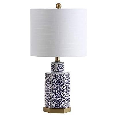 "JONATHAN Y JYL3050A Diana 23.5"" Ginger Jar Ceramic/Metal Table Lamp, Blue/White"