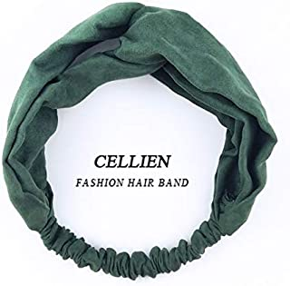WENPINHUI New Women Spring Suede Soft Solid Headbands Vintage Cross Knot Elastic Hairbands Bandanas Girls Hair Bands Hair Accessories (Color : Green)