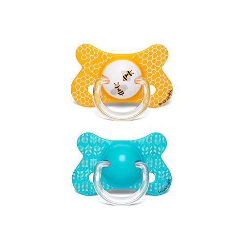 Suavinex - Pack 2 chupetes para bebés +18 meses. con tetina anatómica látex. color Abejitas Amarillo