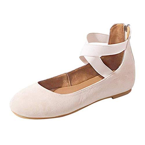 Gtagain Scarpe Donna Sandali Ballerine Piatto - Scarpe Basse Punta Rotonda Crossing Strap Pumps Partito Cerniera Scarpe da Ballo(la Scarpa è più Piccola)
