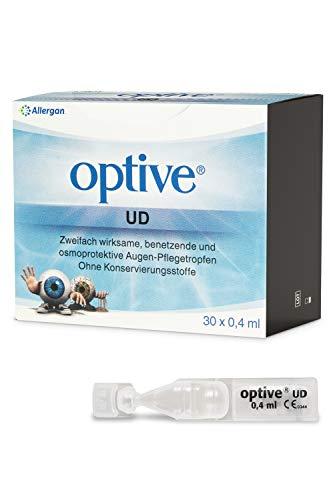 Allergan Optive® UD Augentropfen gegen trockene Augen ohne Konservierungsstoffe | 30 x 0,4 ml | Augentropfen Einzeldosis | Lange Haltbarkeit