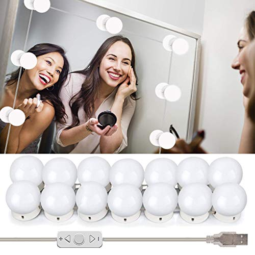 Wesho Luces Tocador Luces de Espejo de Tocador LED Kit 14 Bombillas Regulables Luces Para Maquillaje Hollywood Espejo de Maquillaje Lámpara Para Maquillaje Tabla de Aparador Baño