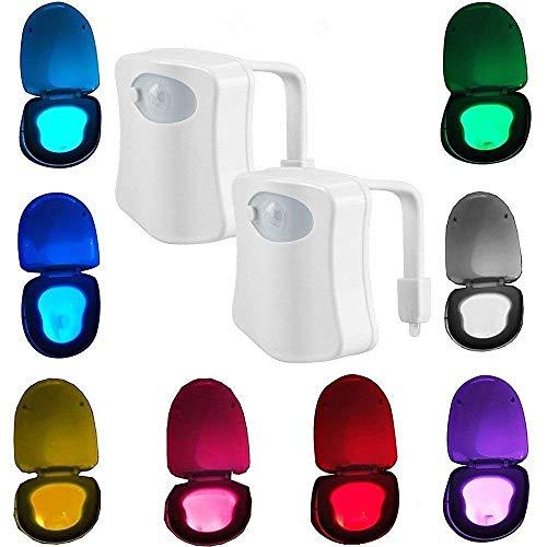Luz de inodoro LED con sensor de movimiento avanzado, luz de noche dentro de la taza del inodoro, sensor de movimiento del cuerpo humano, lámpara de asiento con sensor de activación automática, cambio