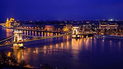 Bdgjln Puzzle 1000 Piezas-Río Danubio en Budapest-Puzzle 1000 Piezas,Juegos Rompecabezas para Relajarse para Regalos niño y adultos-50x75cm