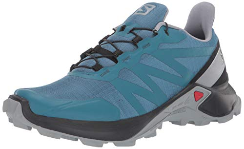 SALOMON Women's Supercross W Hiking Shoe, Mallard Blue/Black/Monument, 7.5