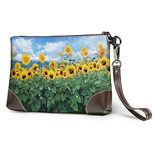 XCNGG Grüne und Sonnenblumen bedruckte Clutch Geldbörse Abnehmbare Leder Wristlet Wallet Bag Damen Handtasche