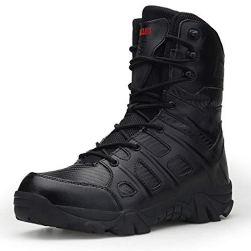 LMZX Herbst und Winter Militärstiefel Outdoor Wanderschuhe Commando Wüste Taktische Stiefel Anti Sicherheit Stiefel rutschen,Schwarz,45