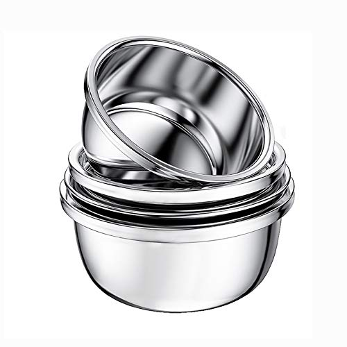 (Set of 4) Stainless Steel Mixing Bowls, Thick Food Grade Stainless Steel, Mirror Reflection, no Rust, 20cm/22cm/24cm/26cm (Size : 20cm22cm+24cm26cm)