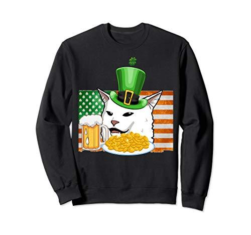 Saint Patricks confused cat meme St Patrick's Day smudge Sweatshirt