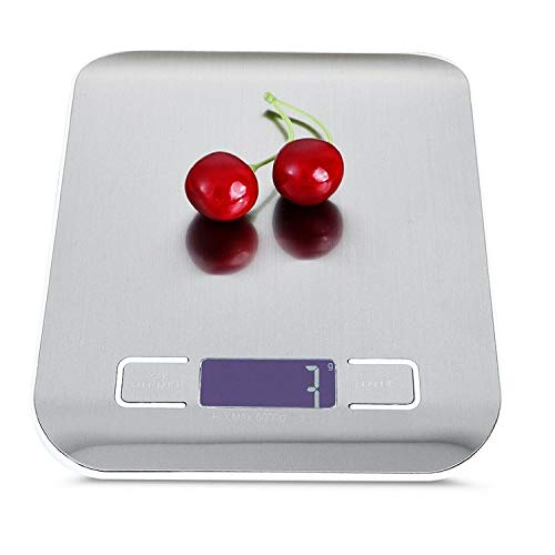 ZSQQSCL Balanza Digital para Cocina,USB De Carga De Acero Inoxidable Fácil De Limpiar Blanco Elegante Báscula Electrónica con Pantalla De Visualización Avanzada, Una Precisión De hasta 10Kg, Ideal Pa