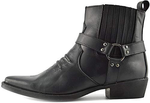 Kick Footwear Leder Herren Cowboy Bikerstiefel Stiefeletten - UK 7 / EU 41, Black