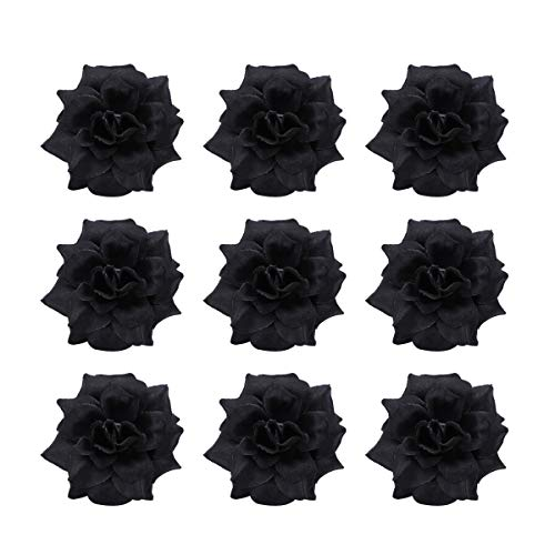 Tinksky 50pcs Silk Rose Flower Heads for Hat Clothes Album, Black, Size 4.5