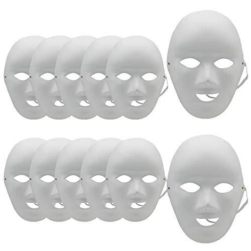 12 Mscaras Blancas para Pintar de Pulpa DIY para Disfraces de Carnaval Halloween Cosplay Bricolaje (Hombre*12)