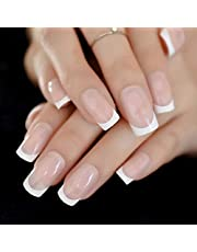 Business Ventures Natural Reusable Artificial Nail/Nails with Nail Glue Set of 24 Pieces
