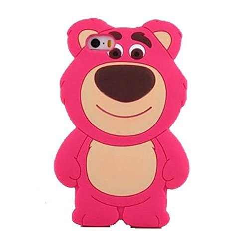 3D Teddy Bear Silicone Case for iPhone 6 / iPhone 6s 4.7' Screen Regular Soft Flexbile Silicone Material Thick Drop Proof Cute and Protective Gift for Kids Teen Girls (Pink Strawberry Bear)