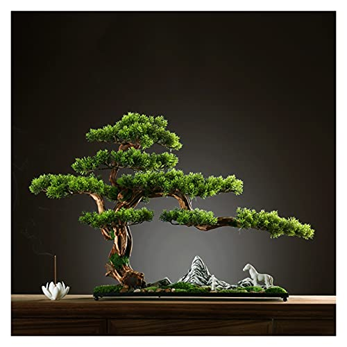 Bonsai Decorative Adorno de pino artificial de 17 pulgadas de alto contenido de pino, una nueva simulación china que acoge el pino, árbol de imitación para la sala de té (con cepillo de limpieza) Bons