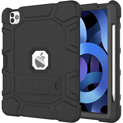 AZZSY Case for iPad Air 4th Generation & iPad Pro 11 Inch 3rd Generation 2021/2020/2018,[Support 2nd Gen Apple Pencil Charging] Slim Heavy Duty Shockproof Rugged High Impact Protective Case, Black