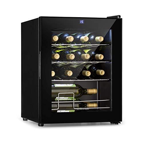 KLARSTEIN Shiraz Slim - Frigorifero per Vini, Cantinetta, Classe Energetica G, 5-18 °C, 42 dB, Pannello Soft-Touch, Luce LED, Posizionamento Libero, 3 Ripiani, 42 Litri, per 16 Bottiglie, Nero