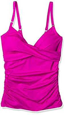 Calvin Klein Women's Tankini Swimsuit with Adjustable Straps and Tummy Control, HOT Fuchsia, Large