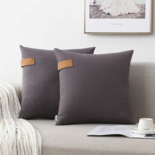 NordECO HOME 100% Baumwolle Kissenbezüge 45x45cm, 2er Pack weiche Kissenhulle für Sofa Schlafzimmer Stuhl Auto, ohne Kisseneinlage, Grau