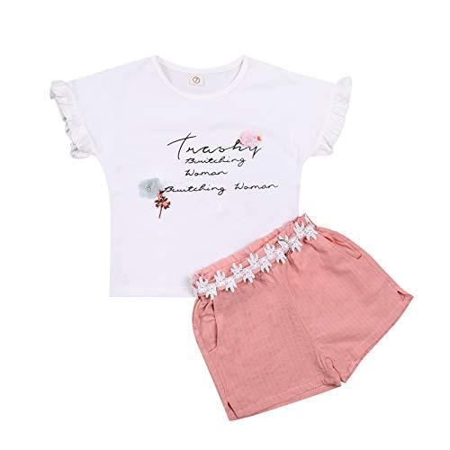 Children Short Sleeves Short Pants Suit, Newborn Babies Round Collar Tops Pocket Outfits (Pink, 11)