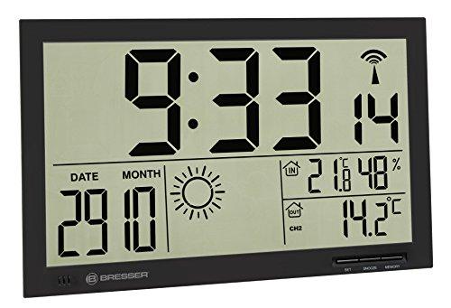 Bresser Wetterstation Funk mit Außensensor MyTime Jumbo LCD Wetter Wanduhr mit Außensensor und extra großen Ziffern für Tisch und Wandmontage, schwarz