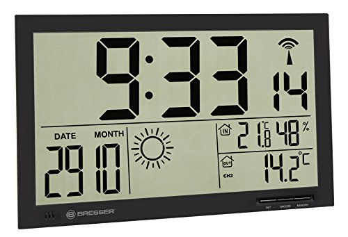 Bresser Orologio da Parete Meteorologico Mytime Jumbo LCD, Nero