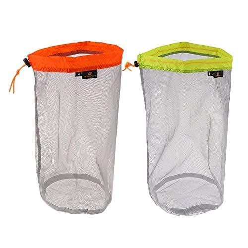 Yundxi Lot de 2 sacs de rangement ultralégers en maille filet avec cordon de serrage pour voyage, camping, randonnée