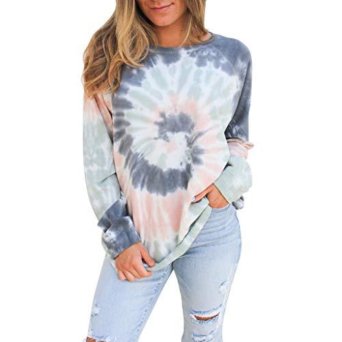 Harpily Damen Langarmshirt Casual Rundhals Sweatshirt Mit Wasserzeichen Pullover Bluse Tops Elegante Frauen Tunika Tops Oberteile,Grau S-XL (XL, Grau)