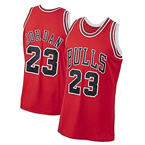 Jordania Jersey Camiseta, Bulls Hombres de Baloncesto Jerseys, 23 Volador Hombre Malla Al Aire Libre Diario Entrenamiento Rápido Chaleco Sin Mangas Fan T-shirt rojo-S