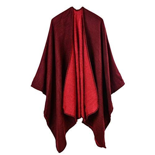 YUFSHU damesjaal poncho van Design voor Pashmina, warm, winter, gebreid 2