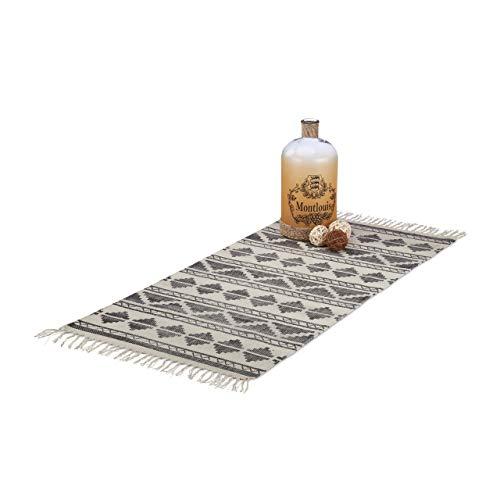 Relaxdays Teppichläufer mit Muster für Flur, Diele, Wohnzimmer, weicher Kurzflor Teppich groß in 70 x140 cm, schwarz