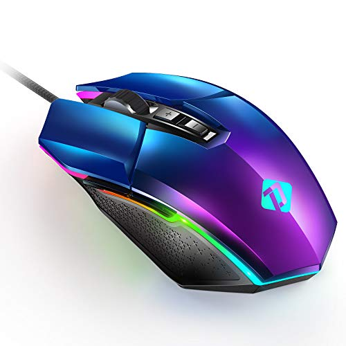 PeohZarr Gaming Mouse, Blue Purple Gradient Computer Gaming Mice with Electroplating Aurora Cover, PC Gaming Mice with 10000 DPI Optical Sensor, 7 Programmable Button for Windows 7/8/10/XP/Linux/Mac