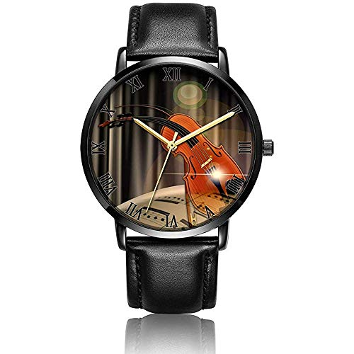 Reloj de Pulsera de violín Personalizado Reloj de Pulsera de Pulsera de Cuero Negro de Cuarzo analógico
