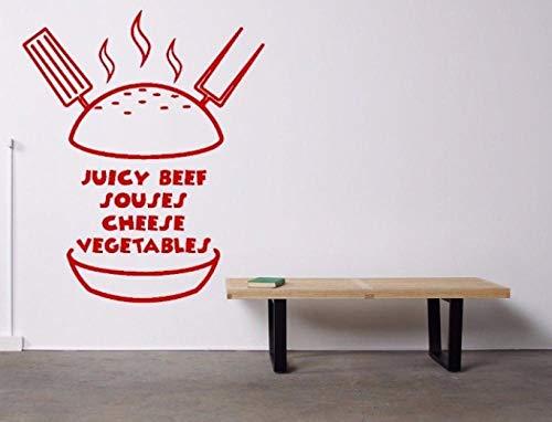 Ausgangsdekoration (Diy) Wandtattoos Kinderzimmer Vitrine Burger Gemüse Rindfleisch Küche Interieur 57X69 Cm