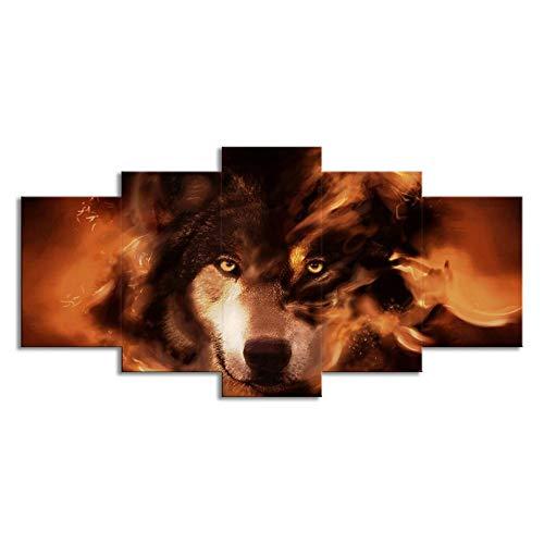 Swlydddm Leinwanddruck mit 5 Stück, Motiv: Tierhund, Wandbilder, moderne Wandbilder auf Leinwand, Wohnzimmer, Schlafzimmer, fertig zum Aufhängen, GW-24659SA