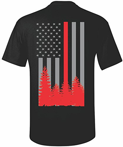 Patriot Apparel Wildland Wild Fire Thin Red Line Firefighter T-Shirt Hotshots Design (X-Large, Black)