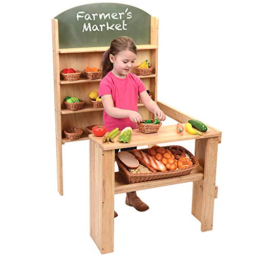 Constructive Playthings Wooden Easy-Shop Market Stall with Counter for Ages 3 and Up