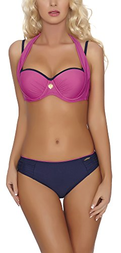 aQuarilla Damen Push Up Bikini Set Lyon (Rosa/Marine, 40)