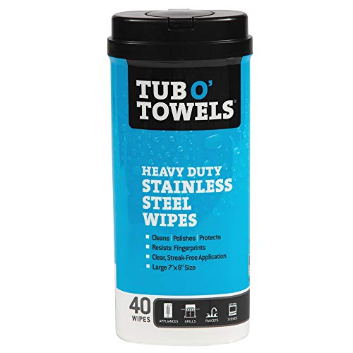 Tub O' Towels Stainless Steel Cleaning Wipes - Remove Fingerprints, Water Marks, Grease and Residue - Clean, Polish and Protect - 40 Count
