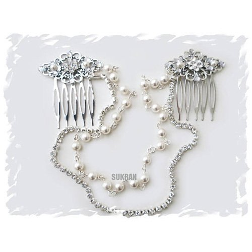 Art Deco inspired Pearl Crystal Headpiece Bridal Hair Drape Great Gatsby Silver Hair piece Flapper Gatsby Headdress 1920 Buchanan Speakeasy Ask a question