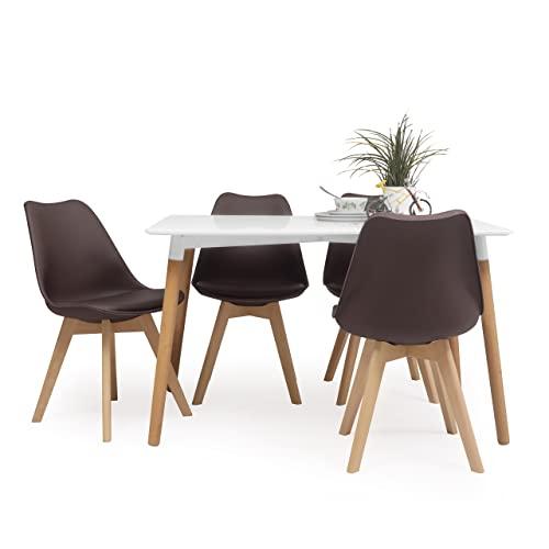 Conjunto de Comedor Tower Day 120 con Mesa lacada Blanca de 120x80 cm y 4 sillas Day (Chocolate)