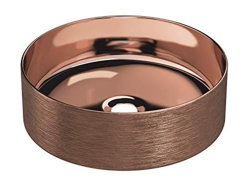 STARBATH PLUS Keramik Aufsatzwaschbecken Rund Waschschale Handwaschbecken SFINCIL 35 x 35 x 12 cm (Kupfer)