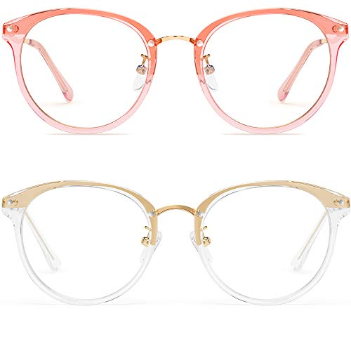 Round Blue Light Blocking Glasses Women - FEIDU Retro Computer Eyeglasses (Clear+Pink)