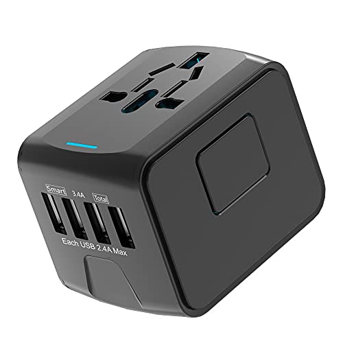 SIQI International Universal All in One Adaptador de viaje mundial Cargador de pared Adaptador de enchufe de alimentación de CA con 4 puertos de carga USB para EE. UU. UE Reino Unido AUS Teléfono celu