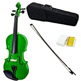 SKY Full Size VN202 Solidwood Green Violin Beautiful Color with Brazilwood Bow and Lightweight Case