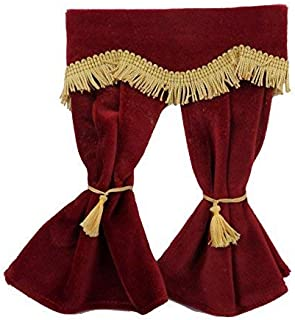 adbf8a80450a Melody Jane Dollhouse Red Velvet Curtains Gold Fringe Window Accessory